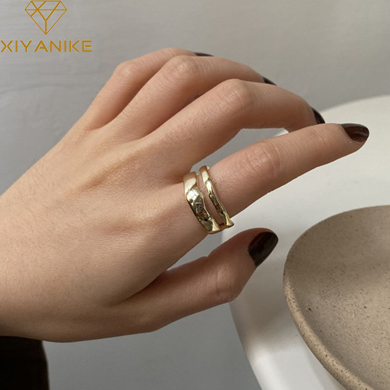 XIYANIKE 925 Sterling Silver Minimalist Handmade Rings For Women Wedding Couple Vintage Fashion Finger Jewelry Prevent Allergy