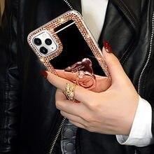 3d luxo cristal bling do diamante caso do espelho para mais s7edge anel tampa do suporte para o iphone