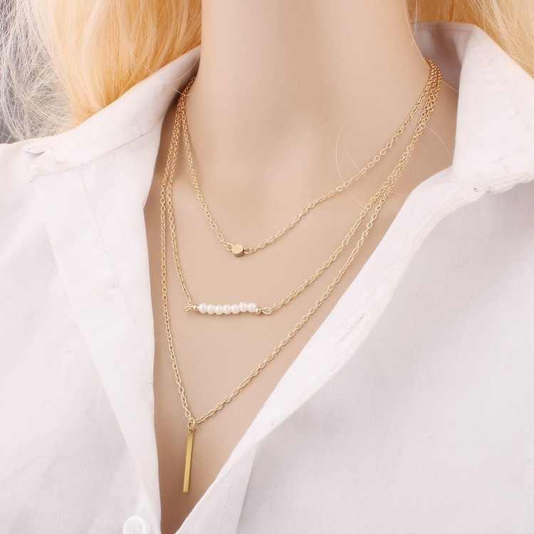 Elegant Silver Plated ผู้หญิง Multi-layer Simple Infinity จี้สร้อยคอสามเหลี่ยม Sequins สร้อยคอโลหะ