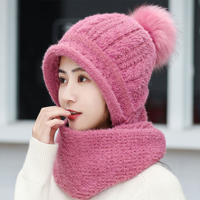 HT2686 Rabbit Fur Hat Women Winter Hat Scarf Set Lady Fur Pompoms Earflap Cap Windproof Knitted Hat With Scarf Winter Accessory