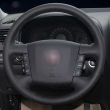 Capa de volante de carro de couro artificial preta para kia borrego 2008-2015