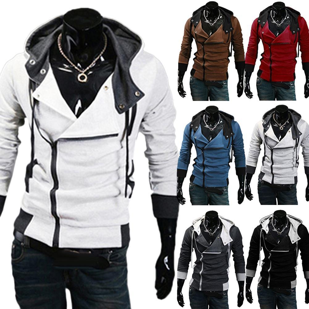 M-5XL Spring/Autumn Sport Windbreaker Running Jacket Plus Size Men Long Sleeve Diagonal Zipper Drawstring Hood Loose Sports Coat