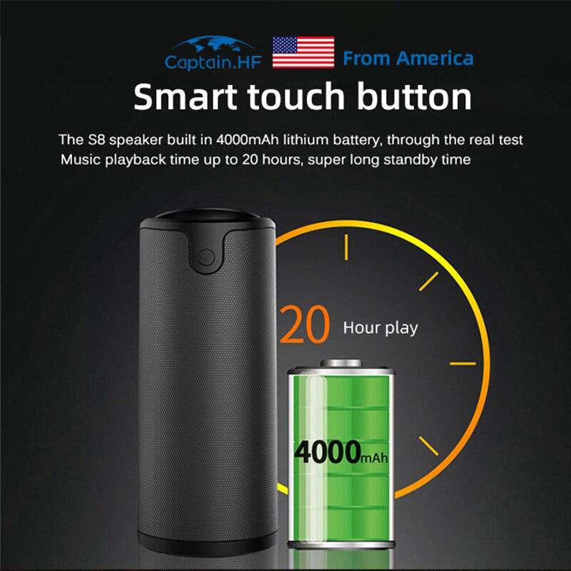 Капитан ВЧ колонки Bluetooth открытый динамик портативный беспроводной 2в1 Банк силы перемену 20ч улучшенный стерео звук для кемпинга