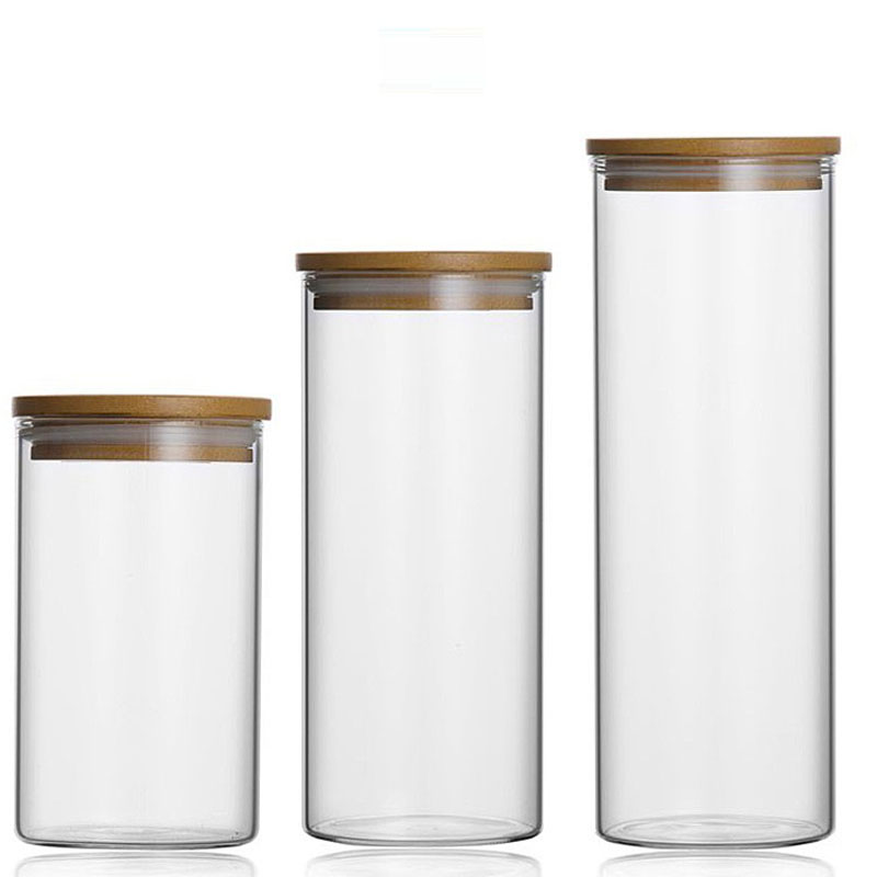 Food Storage Glass Jar No Lead  Kitchen Storage Bottles Sealed Cans With Cover Large Capacity  Candy Glass Jars Tea Box H10560