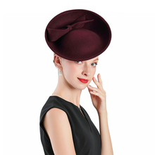Fascinator Hat Royal Red Weddings Wool With Bow Crimping Hats Women Kentucky Derby Church Fedoras Party Tea Prom