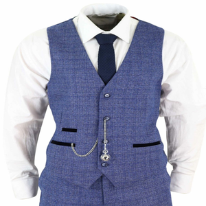 Image 2 - 2020 Blue Mens Suits 3 Piece Tweed Check Men Suit Pocket Watch Tailored Fit Peaky Blinders Terno Masculino