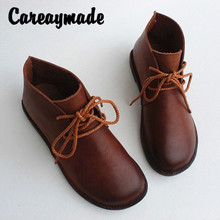 Careaymade-Spring and autumn Genuine leather pure hand-made short boots,leisure soft sole womens shoes Vintage single boots