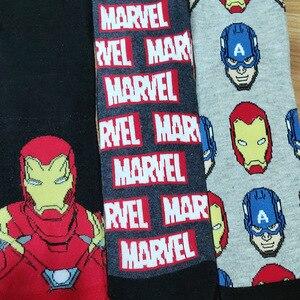 Image 3 - 10 par/pack héroe de historietas General Calcetines Hombre de Hierro de dibujos animados Capitán América rodilla cálidos altos Patrón de costura aumento de tamaño grande calcetín
