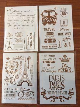4pcs / set A4 Eiffel Tower bus  Stencils Painting Coloring Embossing Scrapbook Album Decorative Template