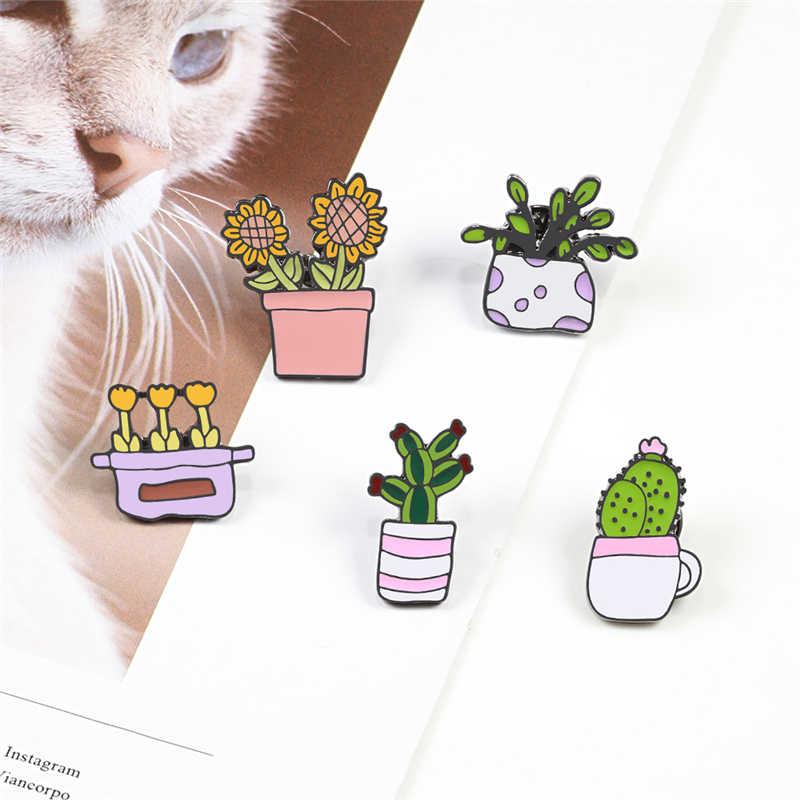 2 ~ 6 adet/takım karikatür emaye pimleri koleksiyonu kaktüs bitki kafatası iskelet özel broş Mini fincan tavşan yaka Pin rozeti punk takı