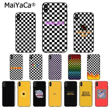 MaiYaCa tablero de ajedrez blanco y negro TPU funda de silicona suave para iPhone 6S 6plus 7 7plus 8 8Plus X Xs MAX 5 5S XR