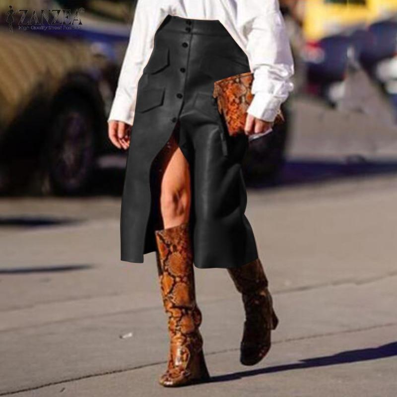 Plus Size Women's PU Leather Vestidos ZANZEA 2020 Stylish Button Skirts High Waist Split Pockets Midi Skirts Female Solid Robe