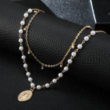 Hot Charms Fashion White pearl Geometric Virgin Mary Gold Chain Pendant Necklace for Women Accessories Jewelry Drop Shipping(China)