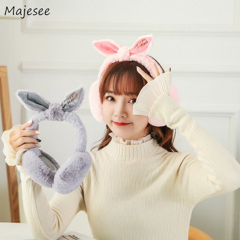 Earmuffs Women Animal Ear Kawaii Pink Student Korean Style Ulzzang Harajuku All-match Girls Chic Warmer Soft Womens Casual Daily