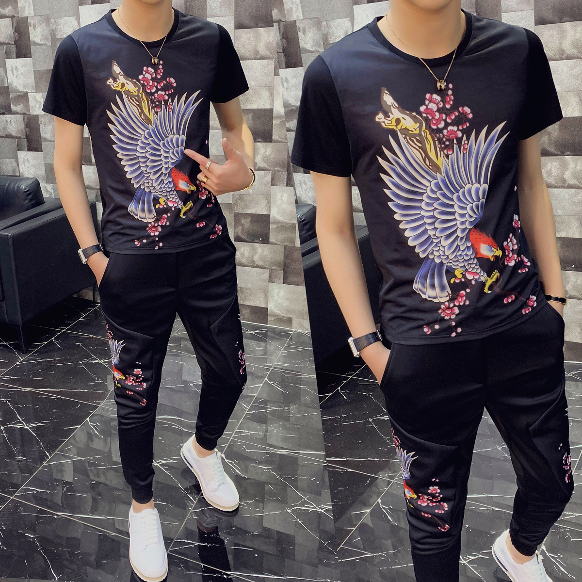 Personality Printing Two Piece Slim Fit Outfits Set Short Sleeve T Shirt High Quality Tracksuit Top And Pants Men