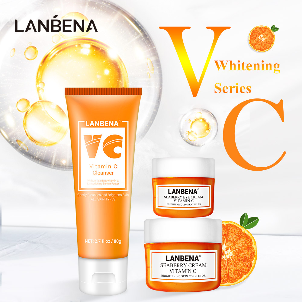 LANBENA VC Whitening Series Face Cream Anti Oxidation Eye Lighten Fine Lines Facial Cleanser Remove Keratin Containing Melanin