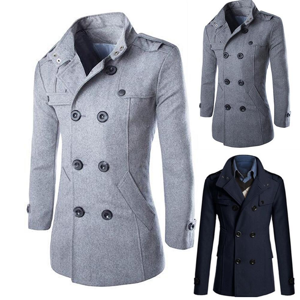 Coat Men Winter Warm lapel Trench Coat Woolen Coat Sliming Casual Solid Stand Collar Double-Breasted Long Coat