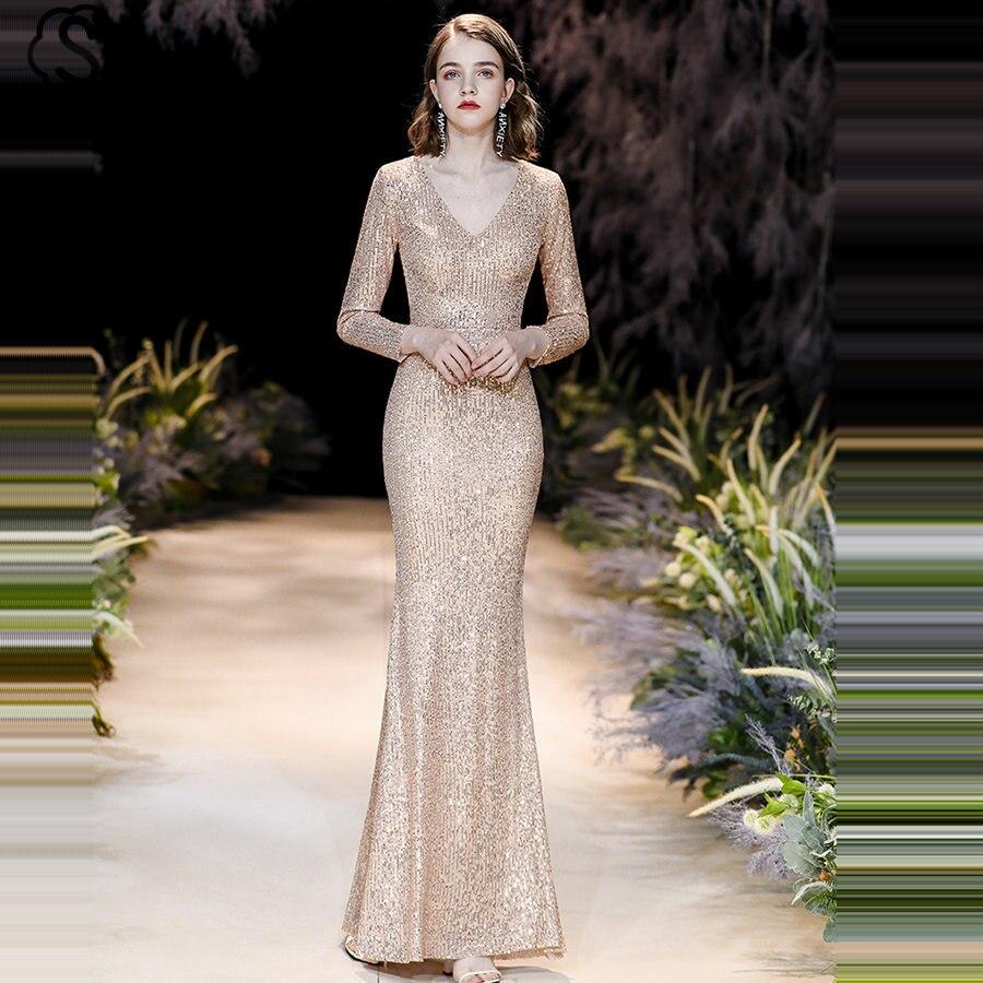 Skyyue Full Sleeves Evening Dress Robe De Soiree K021 Plus Size Women Party Dresses 2019 Gold V-Neck Sequins Mermaid Formal Gown