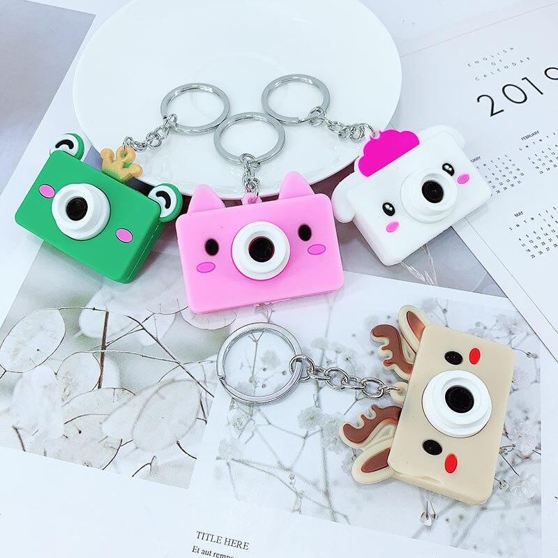 Cute cartoon animal creative camera PVC key ring pendant 3D soft plastic bag car ornaments custom