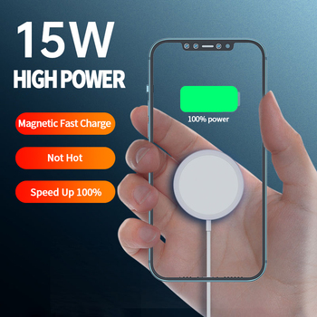 15W Magnetic Wireless Charger For iPhone Portable Magsafe Fast Wireless charging Pad For Samsung HUAWEI Magsafe Cable For iPhone
