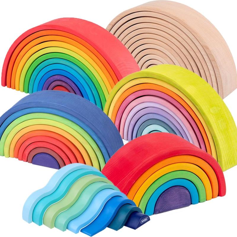 Duże 12 sztuk Rainbow Stacker zagnieżdżanie Puzzle zabawki tunel układanie gry zabawki Montessori dziecko drewniane klocki zabawka dla malucha