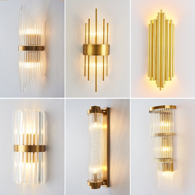 Nordic Golden Luxury Wall Lamp Indoor Crystal Wall Lamp For Living Room Bedroom Bedside Crystal Wall Lamp Simple Led Wall Light