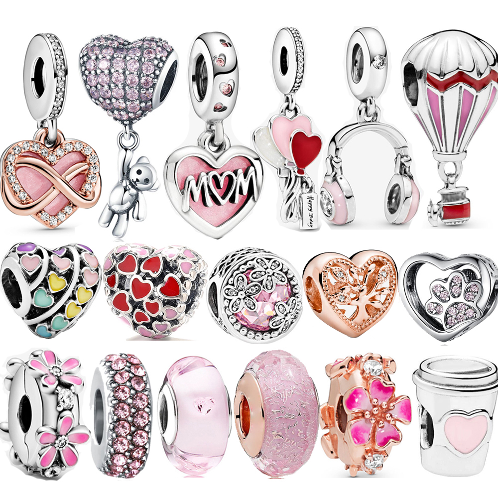 100% 925 Sterling Silver Pink Enamel Take A Break Coffee Cup Beaded Charm Fit Brand Bracelet Fashion Jewelry