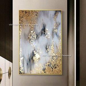 Image 1 - 2019 neue 100% Hand Bemalt Abstrakten Gold Kunst Wand Bild Handgemachte Goldene Baum Leinwand Ölgemälde Für Wohnzimmer Hause decor