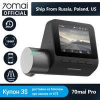 Original 70mai Cam Traço Pro 1944P Velocidade & Coordenadas GPS ADAS 70mai pro Car Dash Camera DVR Wi-fi Voz controle 24H Parque 70 MAI
