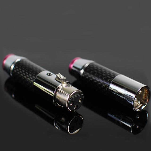 2 pairs/4pairs female male 3 pins Carbon Fiber Brass plated rhodium Gold XLR plug connector