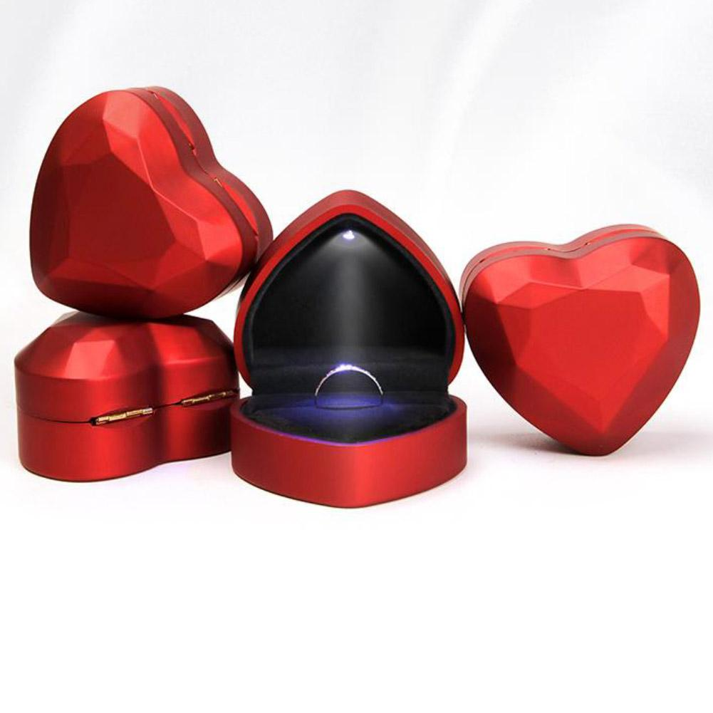 Caja de soporte de anillo de luz LED en forma de corazón, caja de joyería de terciopelo con forma de corazón, caja de joyería