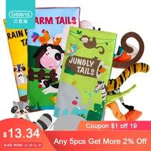 מותג 3PCS תינוק ספר ילדים חינוכיים צעצועי תינוקות ספרי שקט מונטסורי צעצועי בעלי החיים בד ספר עם זנבות רעשן מתנה