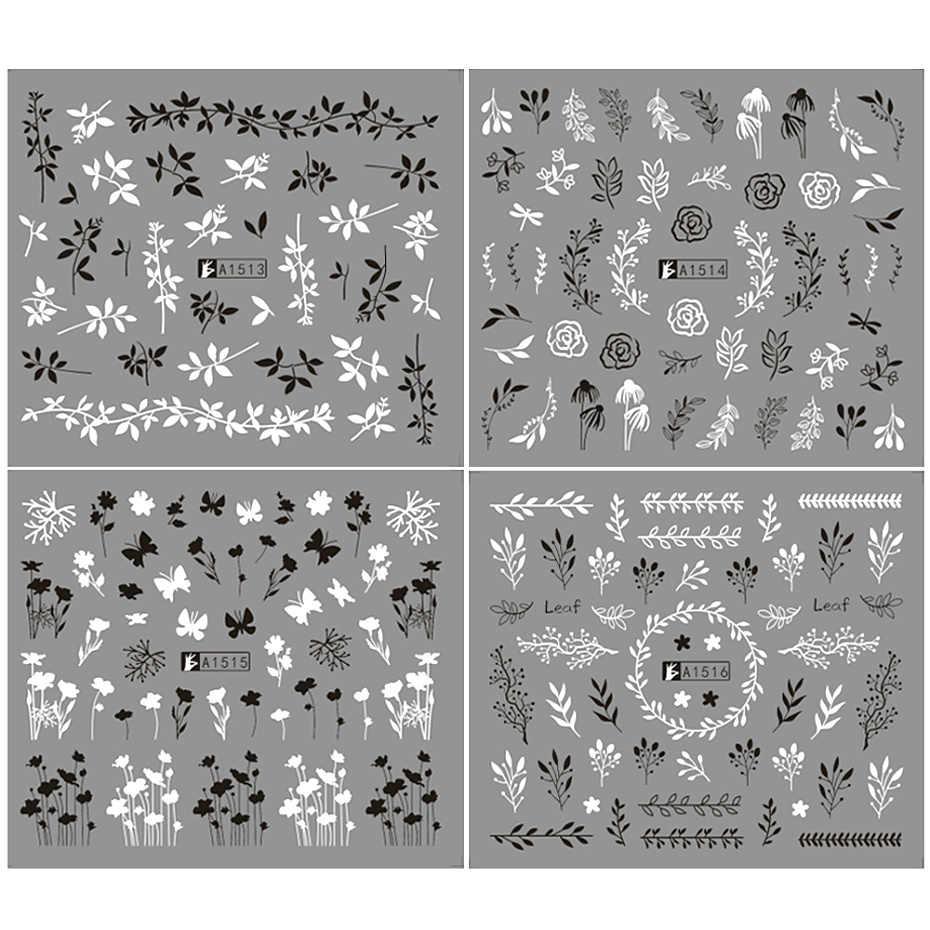 6 ชิ้น/เซ็ตสีดำสีขาวผีเสื้อ Leaf น้ำสติ๊กเกอร์เล็บดอกไม้รูปแบบ Sliders ทำเล็บมือตกแต่งเล็บ Wraps ชุด