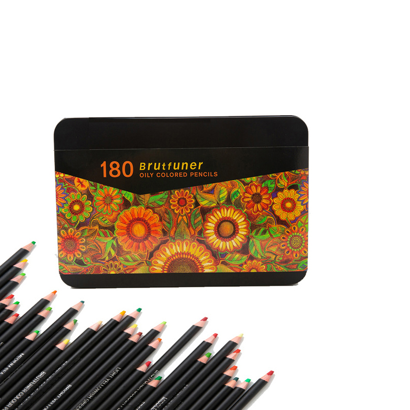 Colored Pencils Professional Set of 180 Colors, Soft Wax-Based Cores Ideal for Drawing Art Sketching Shading & Coloring Tin Box 2