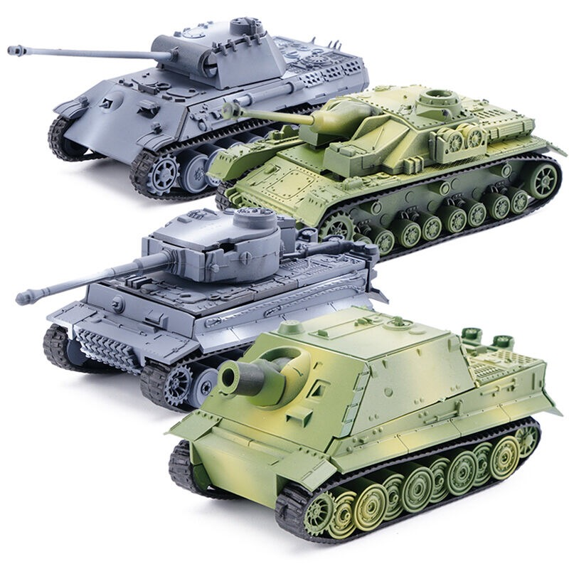 4D Tank Model Building Block WWII German Tiger Panther Tank Military Assembly Model 1:72 Simulation Tank Table Toys Gift For Boy