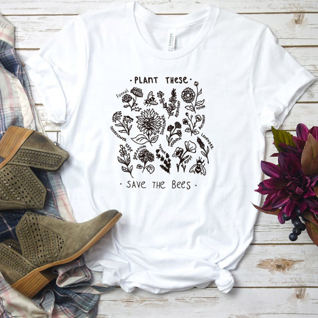 Plant These Harajuku Tshirt Women Causal Save The Bees T-shirt Cotton Wildflower Graphic Tees Woman Unisex Clothes Drop Shipping 22