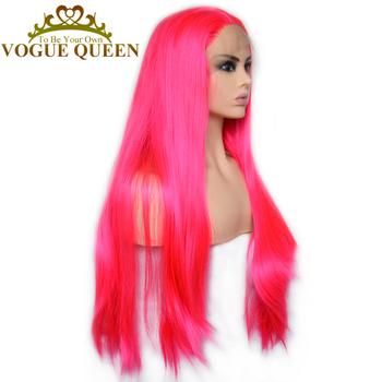 Vogue Queen moda gorący różowy syntetyczna koronka peruka front długie proste pełna peruka z naturalną linią włosów tanie i dobre opinie Wysokiej Temperatury Włókna Przezroczysty 150 Francuski koronki Średnia wielkość Hot Red 19231511151187