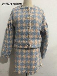 Image 5 - Vintageหวานผู้หญิงไข่มุกตรวจสอบGingham Blazer Highเอวสายสั้นกระโปรงสั้นแขนยาวชุด2ชิ้นชุด