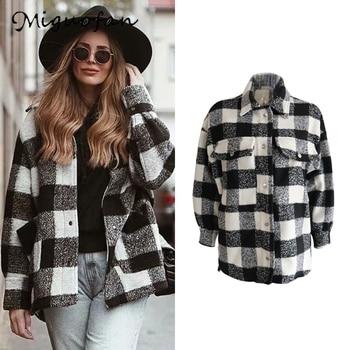 Miguofan-Chaqueta de cuadros de tweed para mujer, chaqueta básica vintage para oficina,...