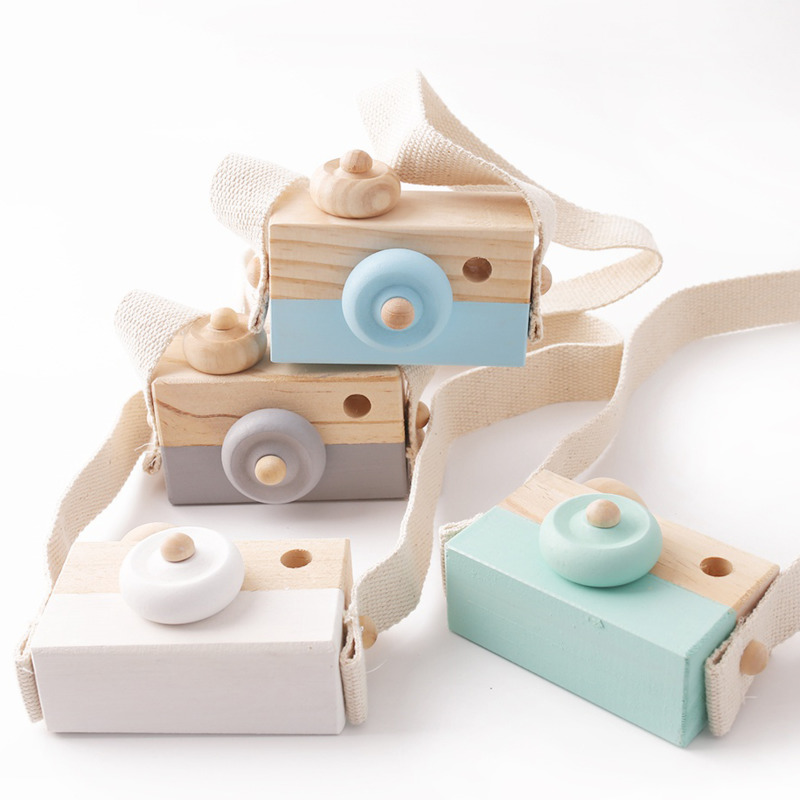 Cute Wooden Camera Nordic Ins Style Educational Toys For Baby Kids Fashion Hanging Room Decor Photography Prop Christmas Gift