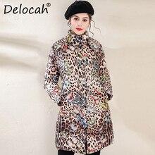 Delocah Women Down Coat Runway Fashion Designer Long Sleeve Leopard Printed 90% White Duck Down Coat Winter New Warm Lady Jacket цены онлайн