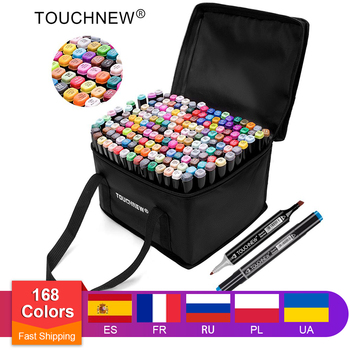 TOUCHNEW Permanent Markers Alcohol Ink Brush Dual Tips Professional Drawing Marker Set Art Design 30/40/60/80/168 Colors - discount item  43% OFF Pens, Pencils & Writing Supplies