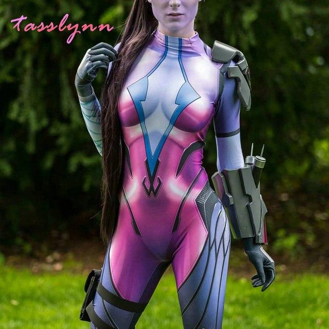 Game Overwatch Costumes Widowmaker Cosplay Costume Women Female Girls Suit Zentai Superhero Geek Girl Bodysuit Adults/Kids