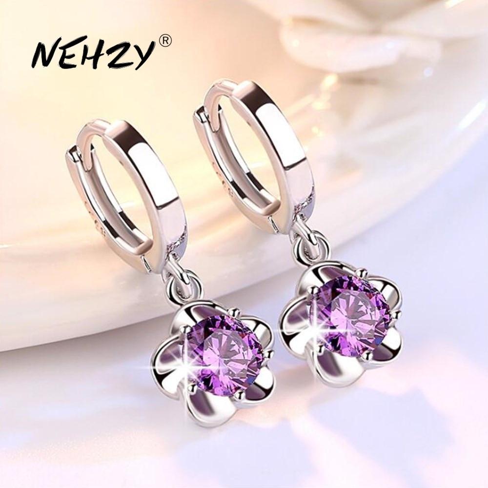 NEHZY 925 Sterling Silver Earrings Jewelry High Quality Retro Simple Pattern Purple White Zircon Earrings Hot Sale