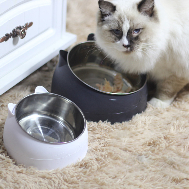 Non-slip Cat Dog Bowl 15 Degrees Tilted Safeguard Neck Puppy Cats Feeder Stainless Steel Crashworthiness Dish for Cat Pet Bowls 5