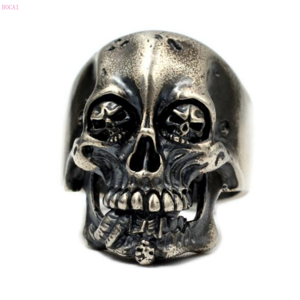 2019 кольцо Король скелетов , Серебро s925 пробы, тайское серебро, ручная работа, властное ретро кольцо для мужчин, указательный палец, большие к... - 3