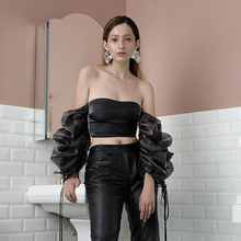 WannaThis Lady Elegant Top Puff Sleeve Off Shoulder Slash Neck Backless Crop Sexy White Slim Fashion Club Party Women Blouse
