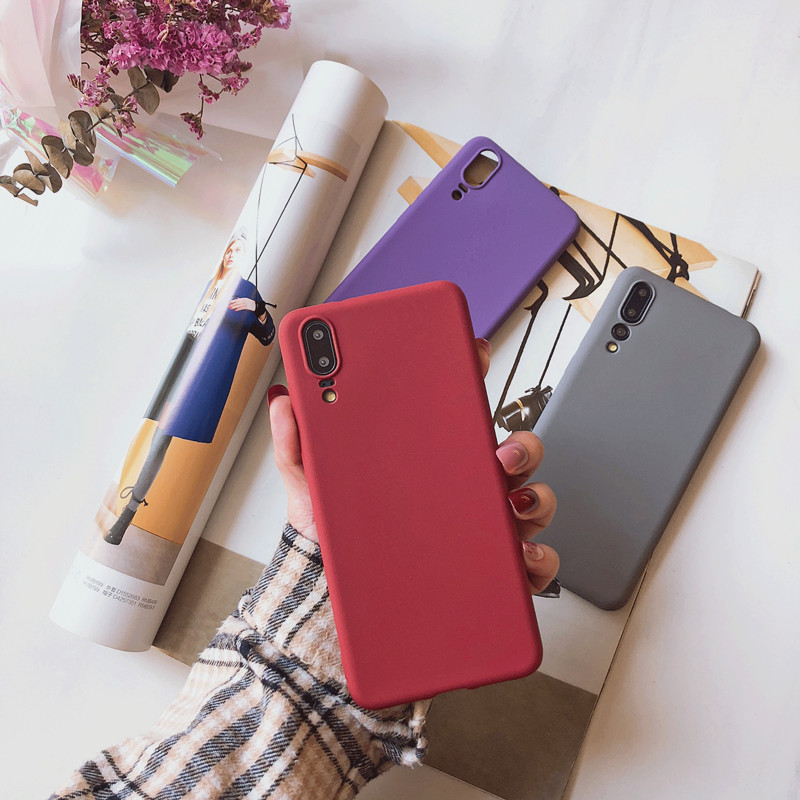 Scrub Sandstone Couple Pure Color Cover Phone Case For Huawei Honor 9X 10 20 V20 20i P20 P30 Mate 20 30 Pro Lite Soft Back Coque
