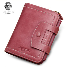 LAORENTOU Brand Natural Leather Women's Zipper & Hasp Purse Coin Pocket Wallet Lady Card Holder Female Small Vintage Money Bag brand new lovely women lady retro vintage owl print small wallet hasp purse clutch bag hasp coin purses small