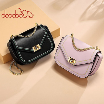 DOODOO Ladies Bag 2020 Spring and Summer New Fashion Cowhide Shoulder Messenger Bag Casual Wild Chain Small Square Bag new cowhide shoulder bag leather messenger bag buckle fashion europe and the united states portable ladies bag